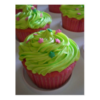 Green Pink party shower Cupcakes Postcards