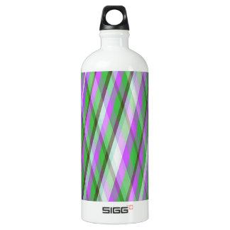 Green & Pink Plaid Aluminum Water Bottle