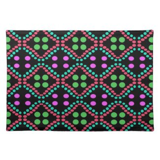green pink polka dot pattern place mats