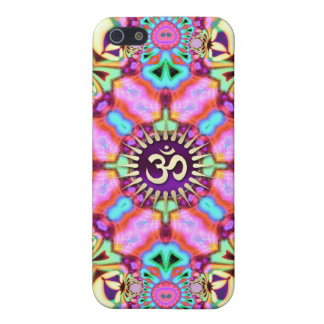 Green Pink Psychedelic Golden Aum iPhone 4 Case