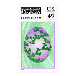 Green Pink & Purple Painted Egg Postage
