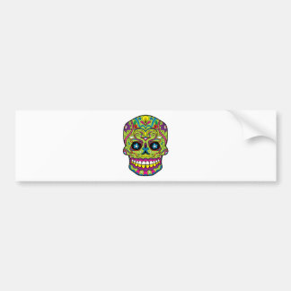Green Pink Purple Tattoo Sugar Skull Bumper Sticker