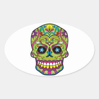 Green Pink Purple Tattoo Sugar Skull Oval Sticker