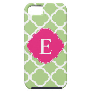 Green Pink Quatrefoil Monogram iPhone SE/5/5s Case