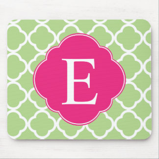 Green Pink Quatrefoil Monogram Mouse Pad