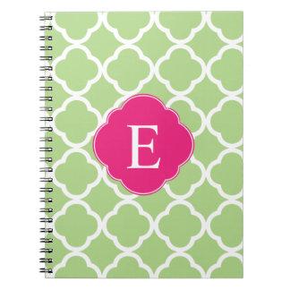 Green Pink Quatrefoil Monogram Spiral Notebook