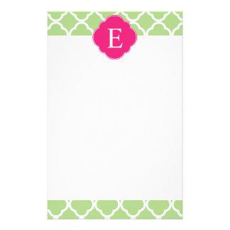 Green Pink Quatrefoil Monogram Personalized Stationery