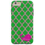 Green/Pink Quatrefoil Pink Whale iPhone6 Case Tough iPhone 6 Plus Case