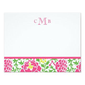 Green & Pink Retro Floral Damask Card