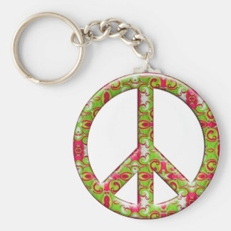 GREEN & PINK RETRO PEACE SIGN BASIC ROUND BUTTON KEYCHAIN