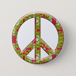 GREEN & PINK RETRO PEACE SIGN PINBACK BUTTON