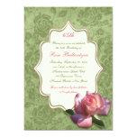 Green Pink Rose Damask 65th Birthday Invite