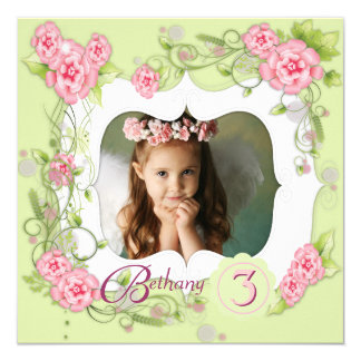 Green Pink Rose Girls 3rd Birthday Party 5.25x5.25 Square Paper Invitation Card
