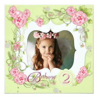 Green Pink Rose Girls Photo 2nd Birthday Party Card
