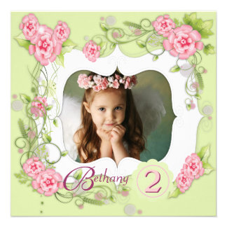 Green Pink Rose Girls Photo 2nd Birthday Party Custom Announcement