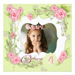 Green Pink Rose Girls Photo 4th Birthday Party Personalized Announcements