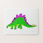 Green Pink Stegosaurus Dinosaur Jigsaw Puzzles