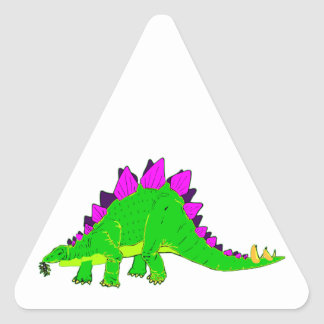 Green Pink Stegosaurus Dinosaur Triangle Sticker