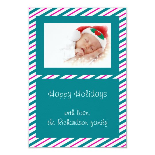 Green Pink Stripe Custom Photo Flat Christmas Card