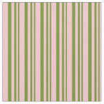 [ Thumbnail: Green & Pink Striped/Lined Pattern Fabric ]