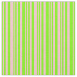 [ Thumbnail: Green & Pink Stripes/Lines Pattern Fabric ]