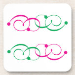 Green & Pink Swirls Coasters