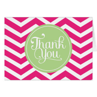 Green Pink Thank You Chevron Card