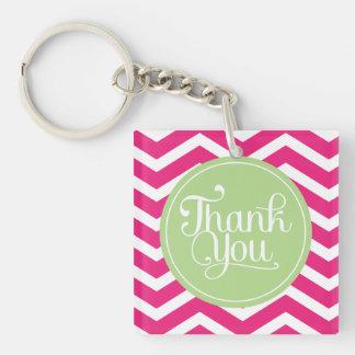 Green Pink Thank You Chevron Keychain