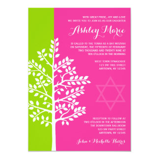 Green Pink Tree of Life Bat Mitzvah Card
