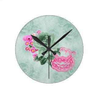 Green&Pink Vintage Teacup&Flowers Round Wall Clock