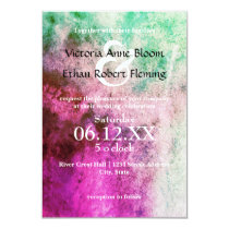 Green/Pink Watercolor - 3x5 Wedding Invitation
