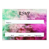 Green/Pink Watercolor - RSVP Card