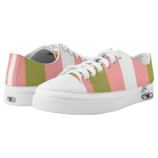 Green Pink White Burgundy Bold Stripes Printed Shoes