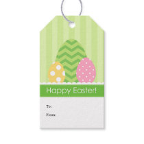 Green Pink Yellow Eggs Happy Easter Gift Tags