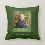Green Pinstripe Memorial American MoJo Pillow