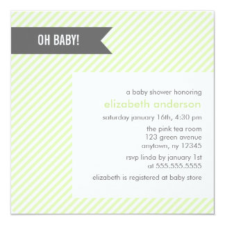 Green Pinstripes Baby Shower Card