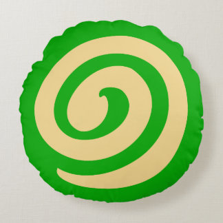 Green Pinwheel Cookie Round Pillow