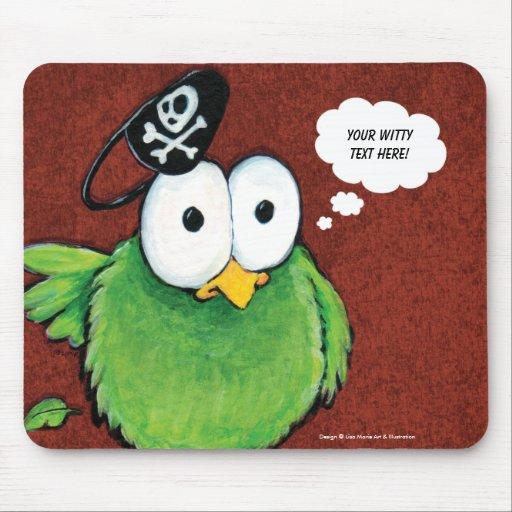 Green Pirate Bird Thought Bubble Mousepad