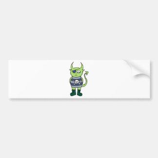Green Pirate Monster Car Bumper Sticker