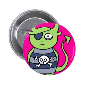 Green Pirate Monster Pinback Button