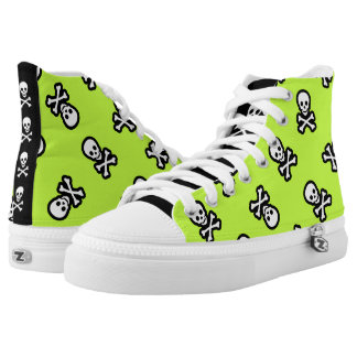Green Pirate Rockabilly Psychobilly Jolly Roger High-Top Sneakers