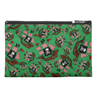 Green pirate ship pattern travel accessory bags