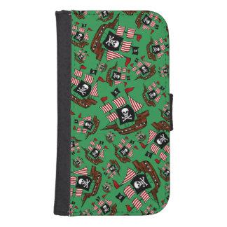 Green pirate ship pattern galaxy s4 wallets