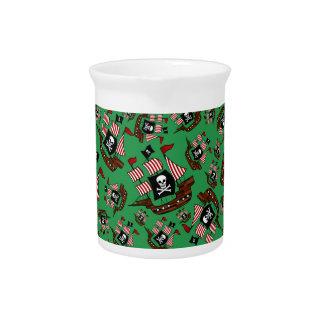 Green pirate ship pattern beverage pitcher