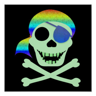 Green Pirate Skull Poster