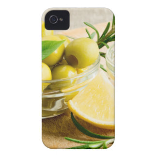 Green pitted olives decorated with herbs iPhone 4 Case-Mate case