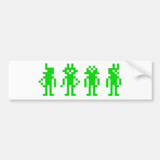 Green pixel robots bumper sticker