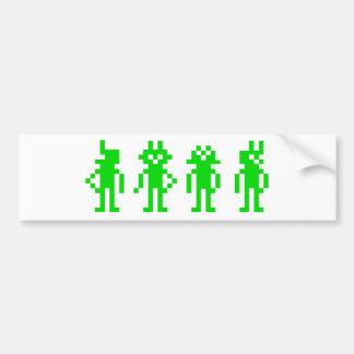 green pixel robots bumper sticker