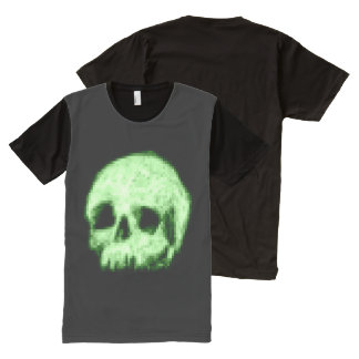 Green Pixelated Skull All-Over-Print Shirt