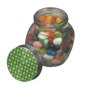 green pizza pattern glass jar